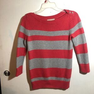 Banana republic hot pink and grey striped sweater